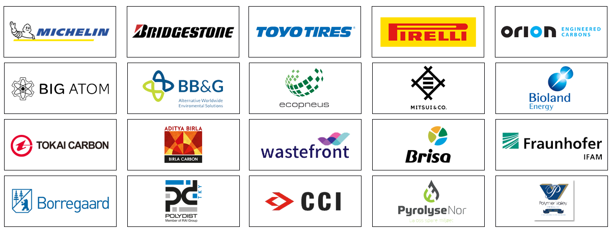 Michelin, Bridgestone, Toyo Tires, Orion Engineered Carbons, PyrolyseNor, Mitsui, Borregaard, Pulva, CCI, Bioland Energy